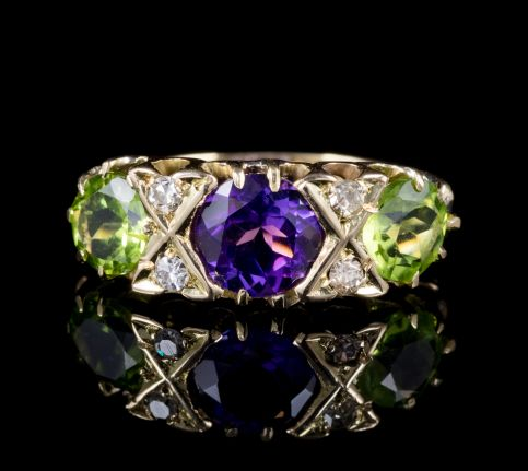 ANTIQUE 18CT GOLD SUFFRAGETTE VICTORIAN RING CIRCA 1900 front