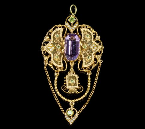 ANTIQUE EDWARDIAN SUFFRAGETTE DROP PENDANT 18CT GOLD AMETHYST CIRCA 1910 front