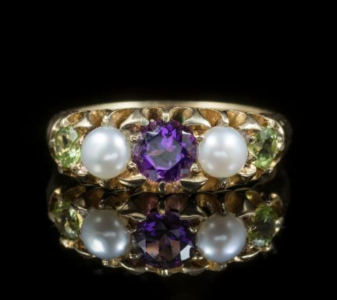 ANTIQUE EDWARDIAN SUFFRAGETTE RING 18CT GOLD DATED 1817 front
