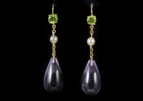 ANTIQUE VICTORIAN AMETHYST SUFFRAGETTE EARRINGS 18CT GOLD CIRCA 1900 FRONT