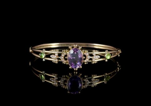 Antique Victorian Suffragette Bangle Amethyst 9ct Gold Circa 1900 FRONT