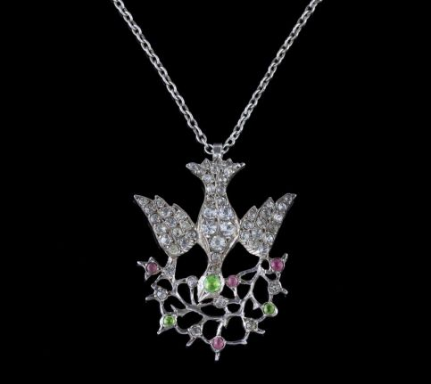 Antique Victorian Suffragette Dove Necklace Silver Circa 1900 FRONT