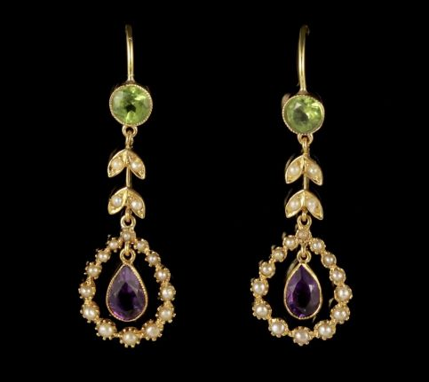 Antique Victorian Suffragette Drop Earrings 15ct Gold Circa 1900 FRONT