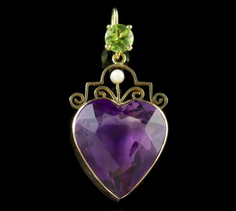 Antique Victorian Suffragette Pendant Amethyst Heart 9ct Gold Circa 1900 FRONT