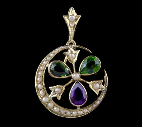 Antique Victorian Suffragette Pendant Amethyst Pearl 9ct Gold Circa 1900 FRONT