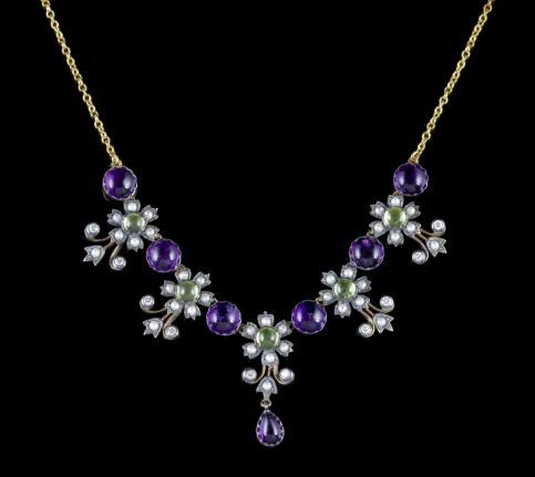 SUFFRAGETTE FLORAL NECKLACE AMETHYST PERIDOT DIAMOND PEARL FRONT