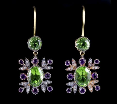 Suffragette Drop Earrings 18ct Gold Peridot Amethyst Diamond FRONT