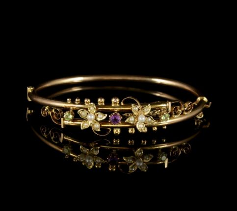 Antique Victorian Suffragette Bangle 9ct Gold Floral Bangle Circa 1900 FRONT