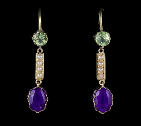 Antique Victorian Suffragette Earrings 15ct Gold Amethyst Peridot Pearls FRONT