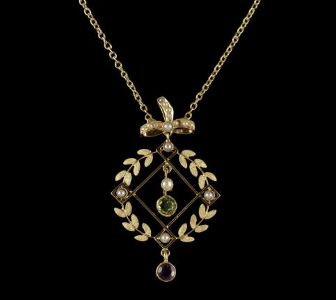 Antique Victorian Suffragette Necklace 15ct Gold Pendant Circa 1900 FRONT