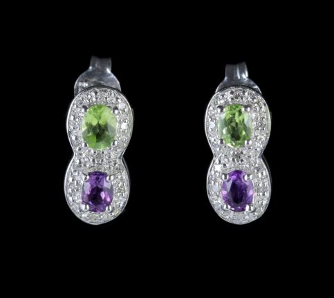 Suffragette Earrings 9ct White Gold Amethyst Peridot Diamond FRONT2