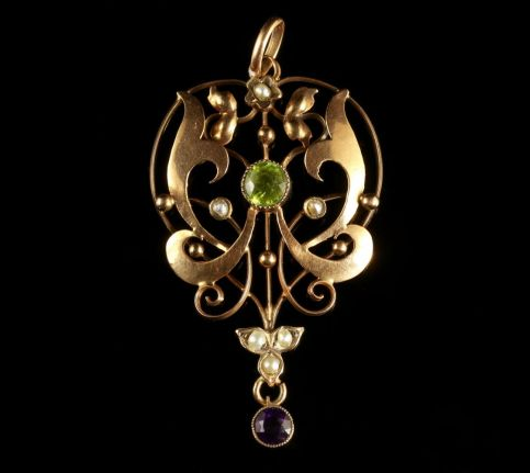 Antique Victorian Suffragette Pendant 9ct Gold Circa 1900 FRONT