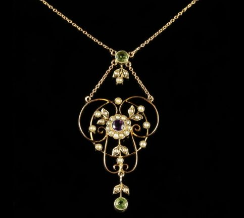 Antique Victorian Suffragette Pendant Necklace Circa 1900 FRONT