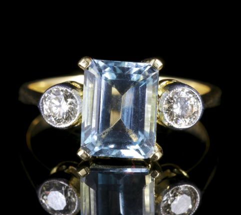 Aquamarine Diamond Trilogy Ring Emerald Cut Aquamarine Engagement Ring FRONT