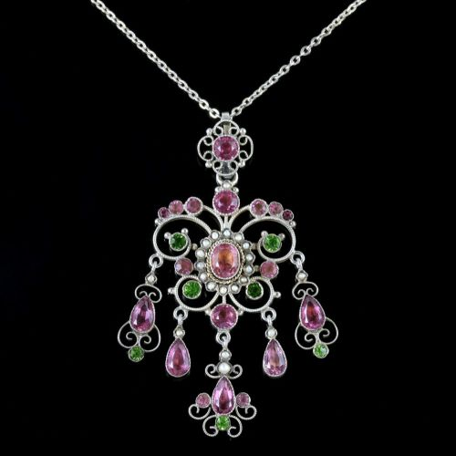 Antique Victorian Suffragette Pink Green Paste Pendant And Chain Circa 1900