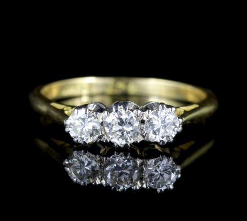 Antique Edwardian 18ct Gold Platinum Diamond Trilogy Ring Circa 1910 FRONT