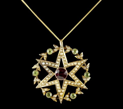 Antique Victorian 15ct Gold Suffragette Star Pendant and Chain Circa 1900 FRONT