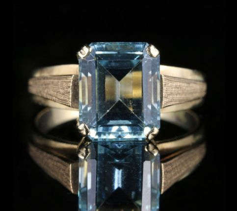 Art Deco Aquamarine Gold Ring 3ct Aqua 18ct Gold front view