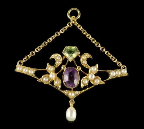 ANTIQUE 15CT GOLD VICTORIAN SUFFRAGETTE DROP PENDANT CIRCA 1900 FRONT