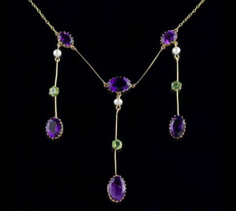 Antique Victorian Suffragette Necklace 18ct Gold Amethyst Droppers Circa 1900 FRONT