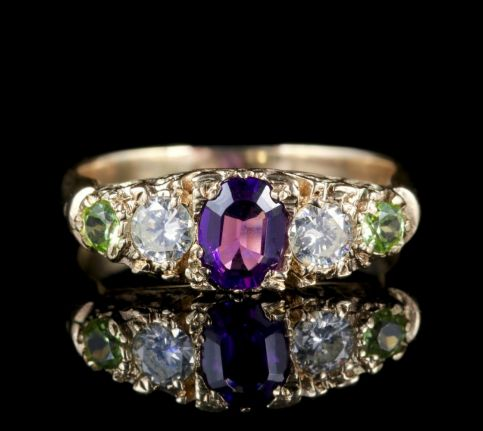 Antique Victorian Suffragette Ring Diamond Amethyst Peridot FRONT