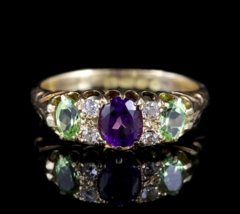 Antique Suffragette Ring Diamond Amethyst Peridot Victorian Circa 1900 FRONT
