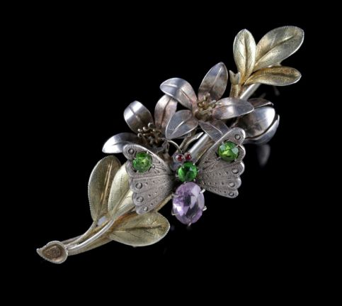 Antique Victorian Butterfly Brooch Arts and Crafts Silver Fuchsia Circa 1890 FRONT