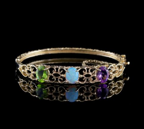 Suffragette Bangle Amethyst Peridot Opal 9ct Gold FRONT