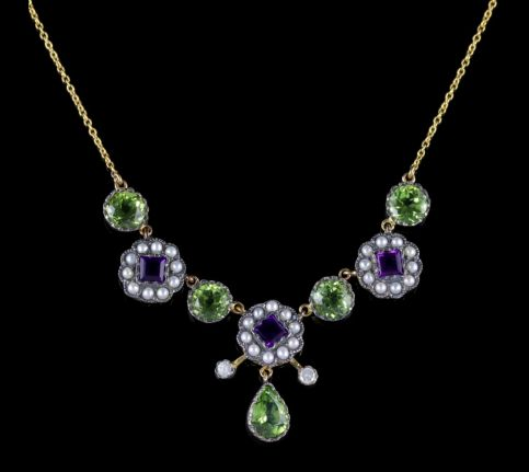 Suffragette Necklace 9ct Gold Silver Amethyst Pearl Peridot Diamond FRONT