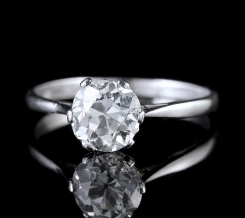 Antique Edwardian 1.45ct Diamond Solitaire Engagement Ring Circa 1900 FRONT