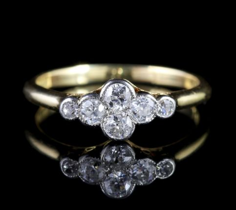 Antique Victorian Diamond Cluster Engagement Ring FRONT
