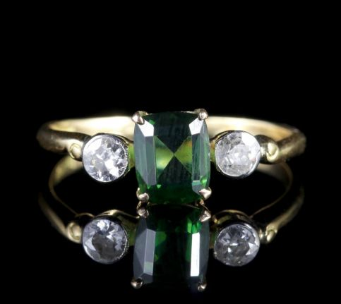 Antique Victorian Green Tourmaline Diamond Ring 18ct Gold FRONT