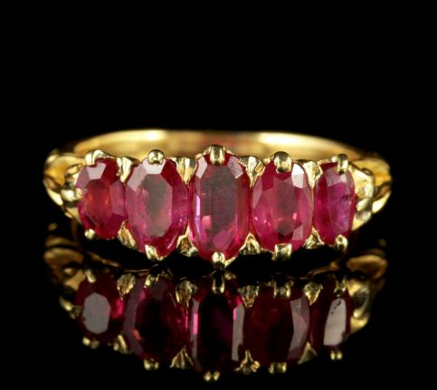 Antique Victorian Natural Burmese Ruby Ring 18ct Gold Circa 1900 Cert FRONT