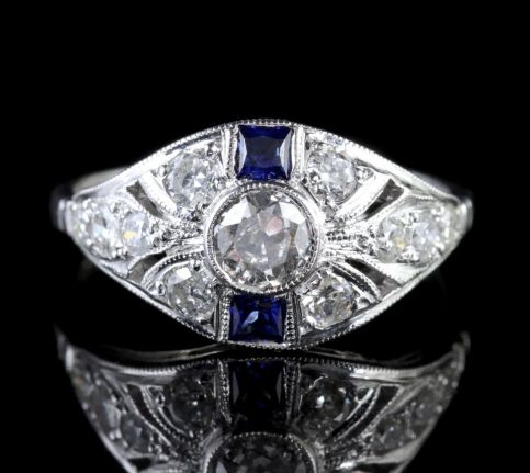 Sapphire Diamond Cluster Ring 18ct White Gold Engagement Ring FRONT