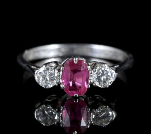 Antique Edwardian Ruby Diamond Trilgoy Ring Gordon to Libbie Circa 1910 FRONT