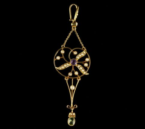 Antique Suffragette Victorian Pendant 15ct Gold Circa 1900 FRONT