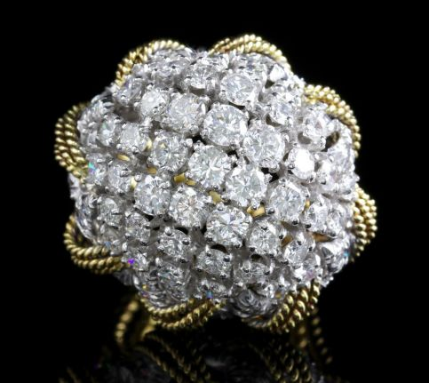 Diamond Boule Bombe Ring Platinum 18ct Ocer 6ct of Diamonds FRONT