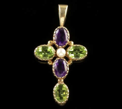 Amethyst Peridot Pearl Suffragette Cross 9ct Gold Pendant FRONT