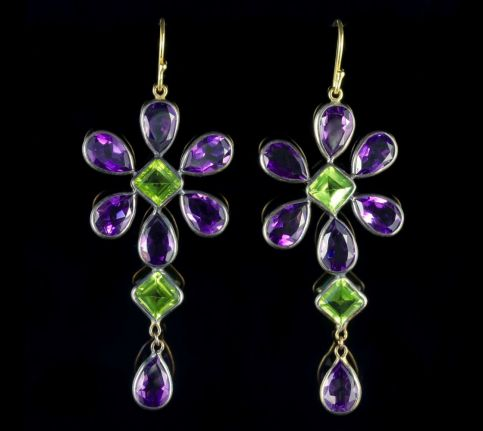 Peridot Amethyst Suffragette Gold Drop Earrings FRONT