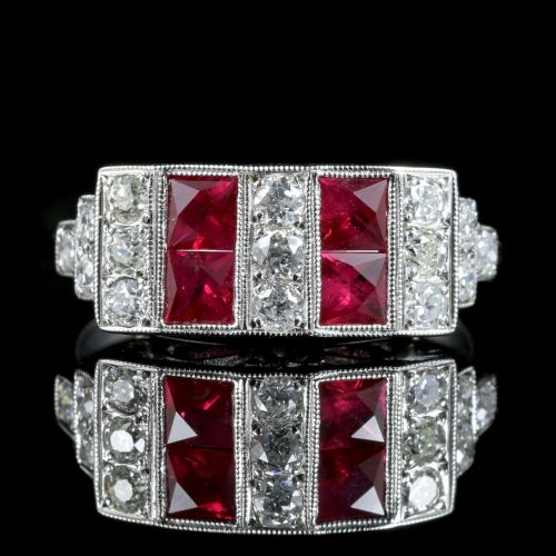 Art Deco Ruby Diamond Ring 18ct Gold 0.80ct Ruby 1.20ct Diamonds front