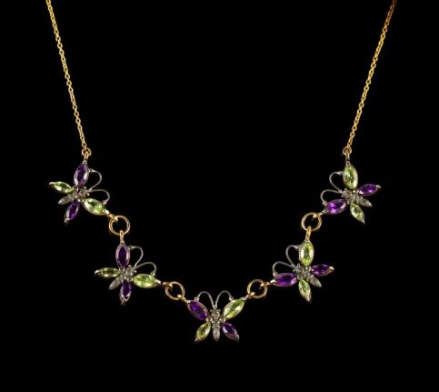 Suffragette Butterfly Necklace Gold Amethyst Peridot FRONT.jpg