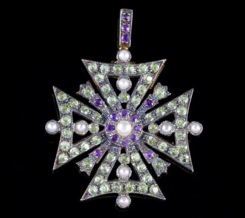 Suffragette Cross Pendant Amethyst Peridot Pearl 9ct Gold  FRONT