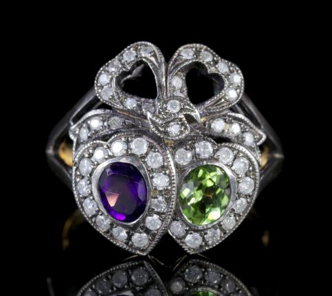Suffragette Double Heart Ring 15ct Gold Silver Amethyst Peridot Diamond FRONT