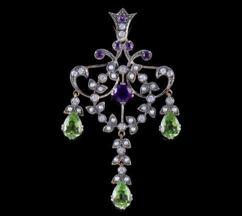 Suffragette Dropper Pendant 18ct Gold Amethyst Peridot Diamond Pearl FRONT