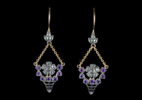 Suffragette Flower Drop Earrings 18ct Gold Amethyst Peridot Diamond FRONT