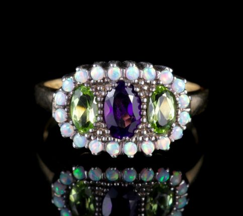 Suffragette Ring Amethyst Peridot Opal 9ct Gold  FRONT