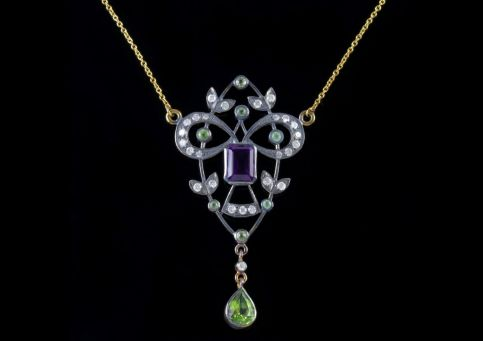 Suffragette Pendant Necklace 9ct Gold Silver Amethyst Peridot Diamond FRONT