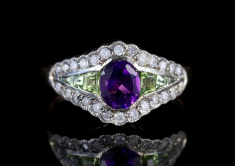 Suffragette Ring 9ct Rose Gold Silver Amethyst Peridot Diamond FRONT