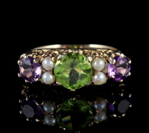 Suffragette Ring Amethyst Peridot Pearl 9ct Gold FRONT