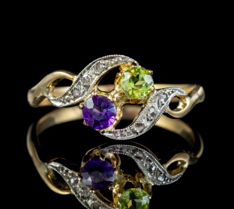 ANTIQUE FRENCH SUFFRAGETTE TWIST RING 18CT GOLD AMETHYST DIAMOND PERIDOT CIRCA 1915 front